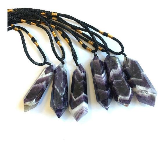 Colar Ametista Amuleto Cristal Natural Pingente Quartzo Cura