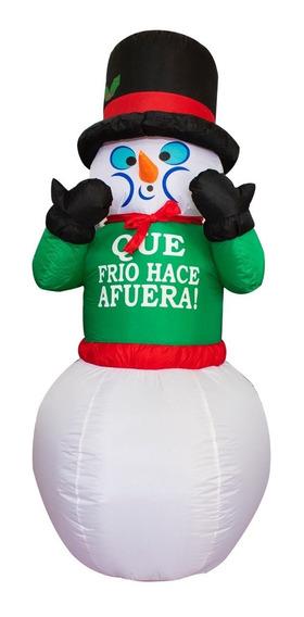 Muñeco De Nieve Que Frío Hace Afuera Inflable Navidad Luz