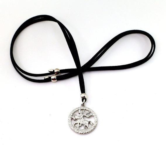 Colar De Couro Medalha De São Jorge Bijuterias Acessorios
