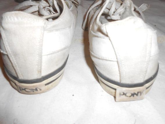 Zapatillas Pony Blancas Abrojo Y Cordones Muy Lindas