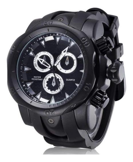 Relógio Masculino Preto Quartz Borracha Frete Gratis