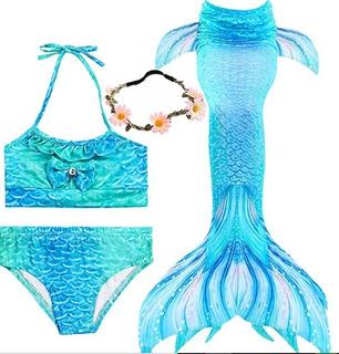 Vestido Baño Traje 3pcs Cola De Sirena Para Niñas Princesa