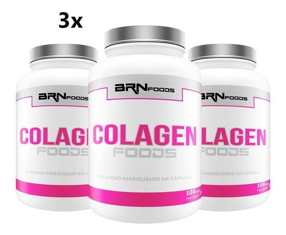 3x Colágeno Hidrolisado - 100 Capsulas - Brn Foods