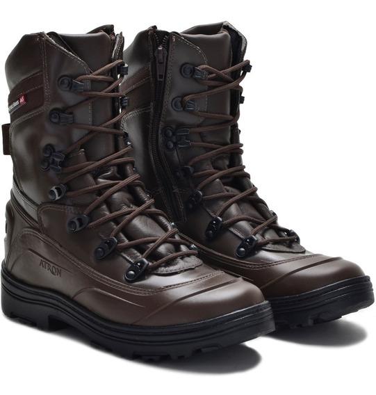 Coturno Masculino Tático Militar Ortopédico Em Couro 289