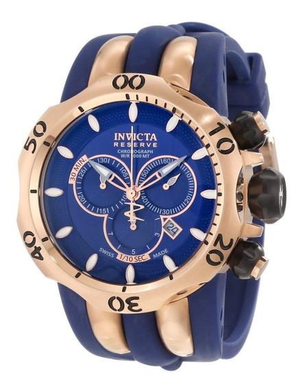Relógio Invicta 10831 Venom Reserve Azul E Rose Original