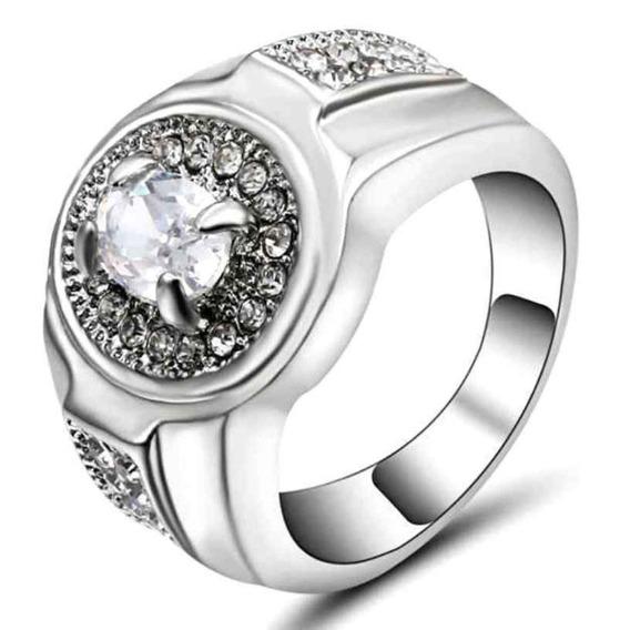 Anel Solitário Cristal Quartzo Diamante Branco 770