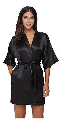 La Mujer Pura Color Corto Kimonos De Saten Con Oblicuo Cuell