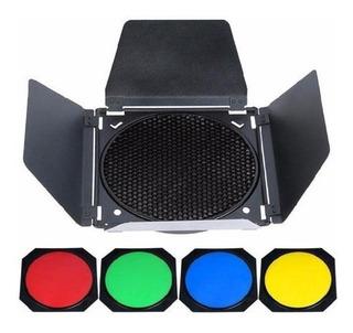 Barndoor Para Cacerola Godox De 18 Cm Con 4 Geles De Colores