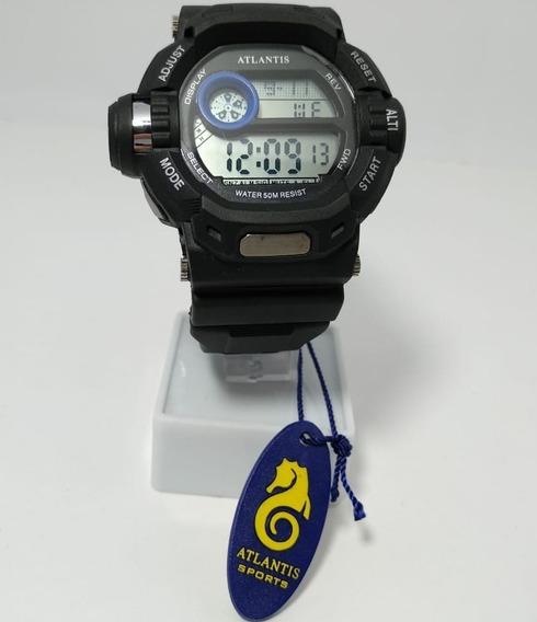 Relógio Atlantis Digital Preto Detalhe Em Azul - 7324g