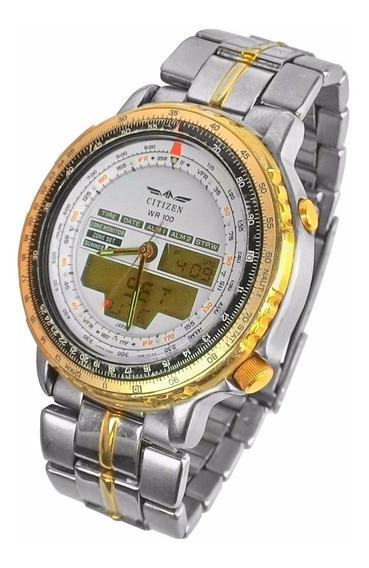 Relógio Citizen Wr 100 Dourado E Prata (12512)