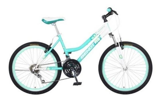 Bicicleta Benotto Madeira Mtb Acero R24 21v Dama Sunr Aqua