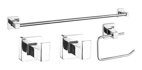 Juego Set Accesorios Baño Piazza Cube 4 Piezas Cromo 73028