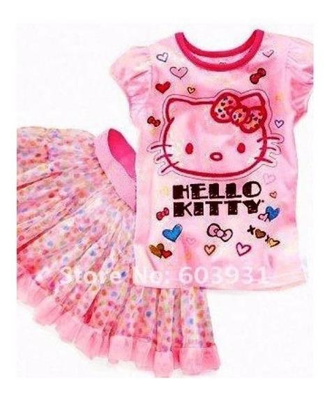 Conjunto Hello Kitty Saia Rodada De Bolinhas - 1 Ano