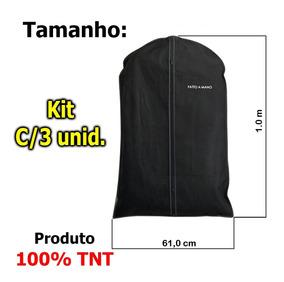 Porta Terno, Roupa, 100% Tnt, C/ziper - Preto - Kit C/3 Unid