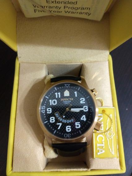 Relógio Invicta 0449 Dourado Pulseira De Couro Preta