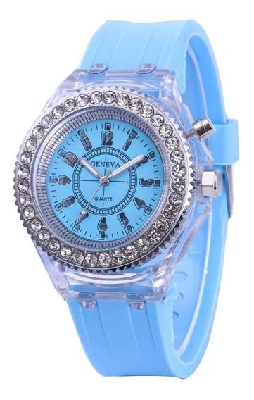 Reloj Luminoso Led Rgb Regalo Luces Geneva Azul Cielo