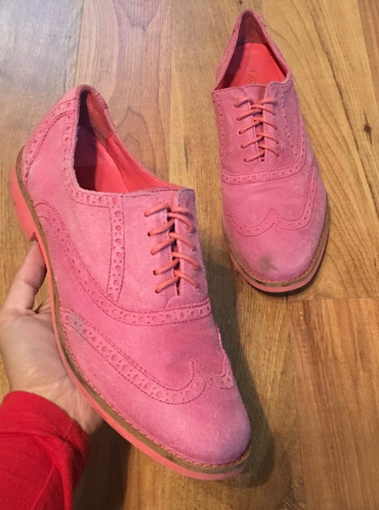 Padrisimos Zapatos Flats Cole Haan Oxford Piel Suede Rosa!!