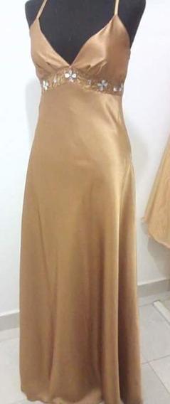 Vestido De Fiesta Bello Dorado Bordado A Mano Talle M