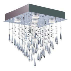 Plafon Lustre Quadrado Para Sala Cristal Thunder 5 Lâmpadas
