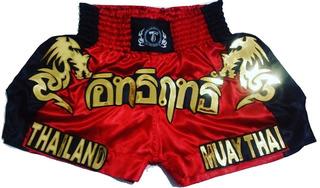 Short Calção De Muay-thai; Vermelho/preto, Dragon
