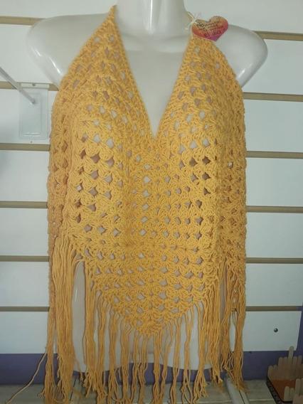 Top Crochet Remera Playa Amarillo Maiz