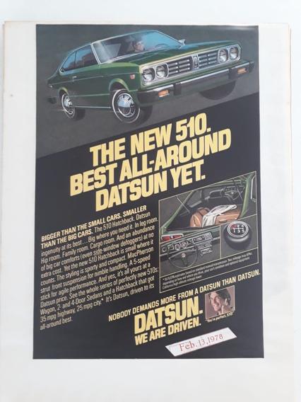 Propaganda Antiga Anúncio Publicidade Datsun 510 1978