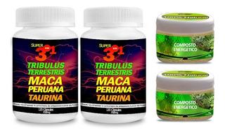 240 Cáp. Tribulus + Maca + Taurina + Brinde Energético Em Pó