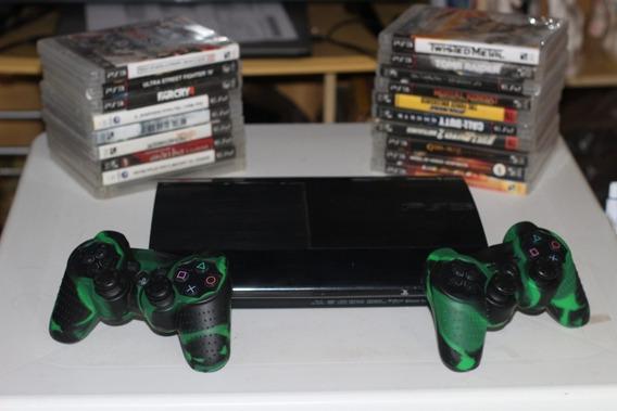 Vídeo Game Ps3 Ultra Slim Com Dois Controles E Vários Jogos