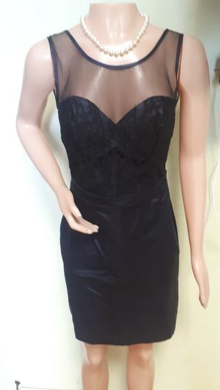 Vestido Color Azul Oscuro Combinada Talle S/m
