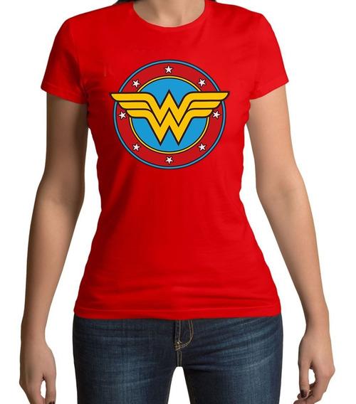 Camiseta Mulher Maravilha Escudo Baby Look 100% Algodão