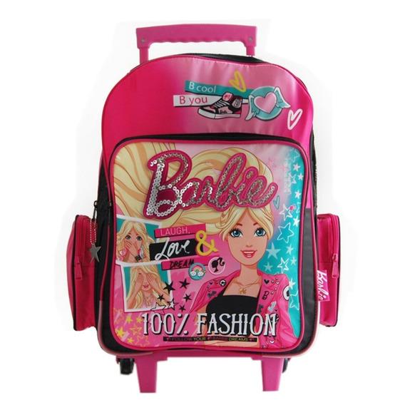 Mochila Con Carro Grande 18 PuLG Barbie 16793 Mundo Manias