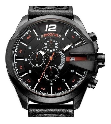 Relógio Skone 9430 Original Couro Top