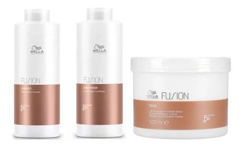Imagem 1 de 1 de  Kit Wella Fusion Shampoo + Condicionador + Mascara 500 Ml