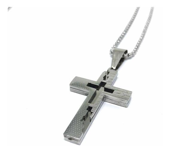 Colar Crucifixo Em Aço Modelo Silver