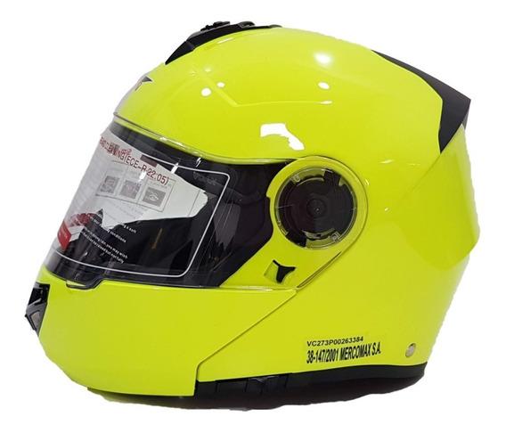 Casco Moto Rebatible Vcan V270 Fluo Doble Visor Solomoto