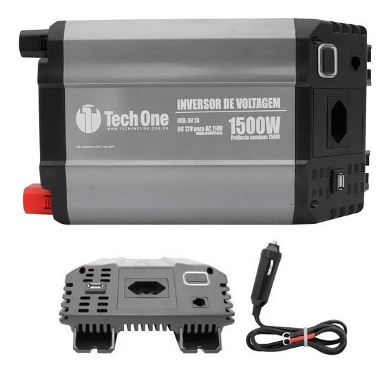 Inversor De Voltagem 12v Para 110v 1500w Com Usb - Tech One