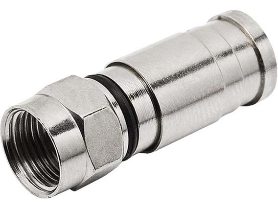 Conector F Rg6 Compressão (pacote Com 10 Peças)