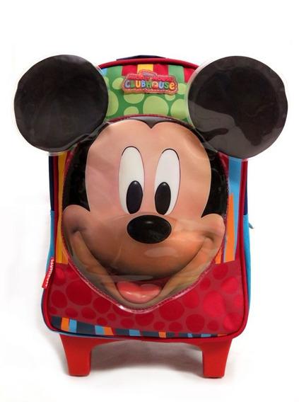 Mochila Con Carro Mickey Infantil Colegial 8658 Childrens
