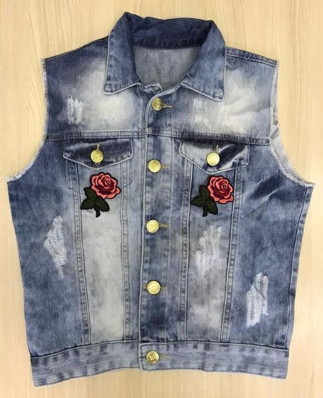 Colete Jeans Cropped Desfiado Customizado Patchs Destroy