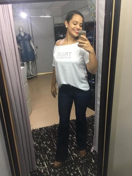 Calça Flare Jeans Escura Feminina True Emotion Tam 38