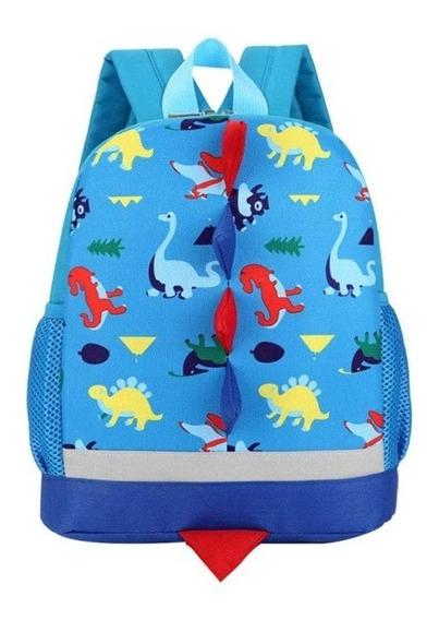 Mochila Preescolar Kinder Guarderia Dinosaurio Azul Claro
