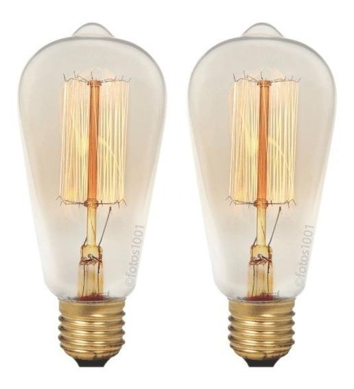 2x Lâmpada Retro Filamento De Carbono Edison Vintage 40w