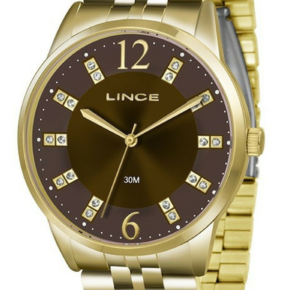 Relógio Feminino Lince Grande Dourado C/ Strass Lrgj044l