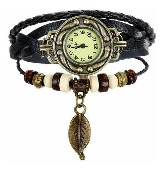 Relógio Feminino Vintage Pulseira Couro Pu Folha Promoção
