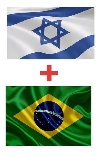 Kit Bandeira De Israel + Bandeira Do Brasil (1,5m X 0,90cm)#
