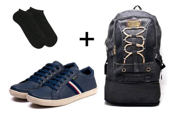 Kit Sapatênis Azul +mochila+meia Masculino Super Barato