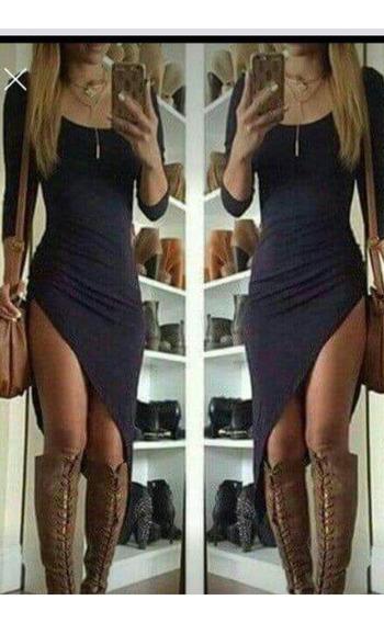 Vestido Asimetrico De Invierno Corto Para Bucaneras Xl Xxl