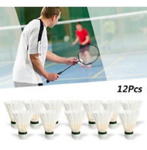 Imagem 1 de 4 de Peteca Badminton Base Cortiça Pena Branca Ganso Tubo C/12 Un