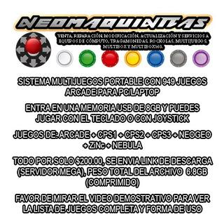 Sistema Arcade Multijuegos Portable 949 Juegos Pc/laptop