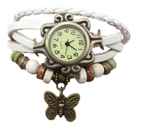 Relógio Feminino Pulseira Couro Vintage Bracelete Vintage